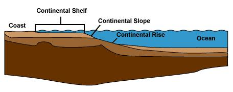 Tværsnit af kontinenternes møde med oceanerne. A: Kyst, B: Kontinentalsoklen, C: Kontinentalskrænten, D: kontinentalhævningen, E: Oceanbund.