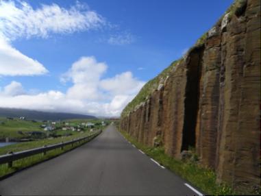 Photo showing columnar basalts on the Faroe Islands