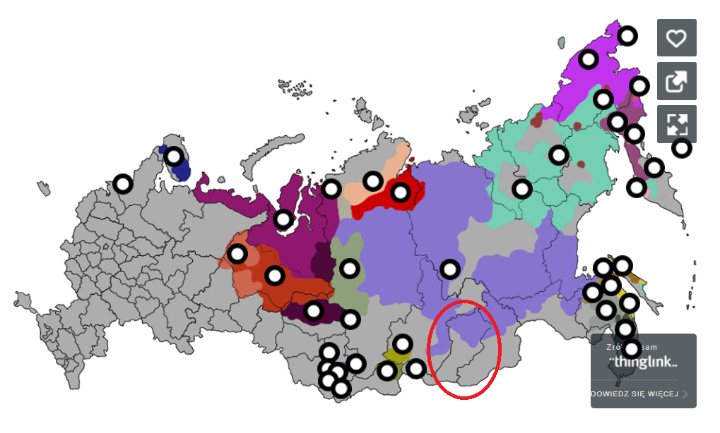 Svæði innan Rússlands byggt af Buryata þjóðflokkinum, heimild: http://engur.ru/map_ispn